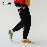 CHINISM OnTheStreet Embroidery Fleece Pants Mens Winter Warm Loose Harem Pants Thick Casual Long Trousers Warm