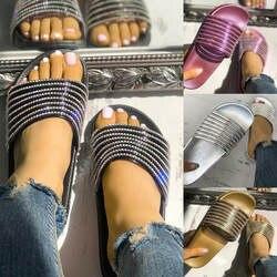 Лидер продаж; летние шлепанцы; женская обувь; женские пляжные сандалии на плоской подошве с кристаллами на низком каблуке; zapatos de mujer; @ 40