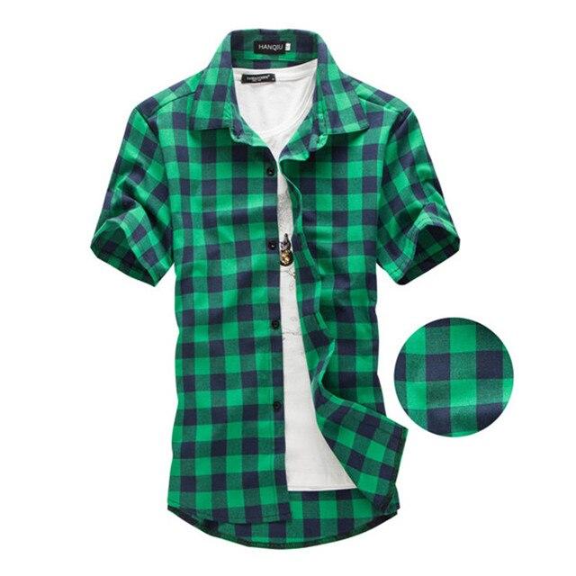 Темно-зеленый и плед Рубашки для мальчиков Для мужчин Новое поступление 2017 года Лето Для Мужчин's Повседневное с коротким рукавом Рубашки для мальчиков модные CHEMISE Homme Для мужчин Сорочки выходные для мужчин