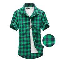 Navy And Green Plaid Shirts Men 2017 New Arrival Summer Men S Casual Short Sleeve Shirts