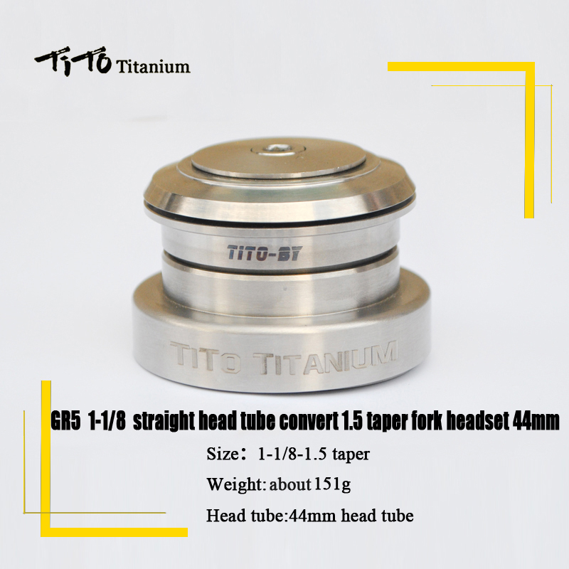 TiTo Titanium alloy Headset MTB Bicycle Parts Cycling 1-1/8 straight head tube convert 1.5 taper fork 1-1/8 and 1-1/2 headset kcnc bicycle heasets parts taper 1 5 1 1 8 khs pt1860 taper integral gold os41 8mm 51 8mm bearings lightweight 92g