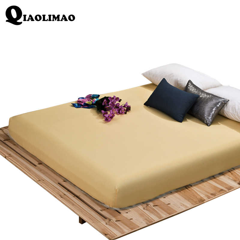 Polyester/Cotton Solid Fitted Sheet With Elastic Band Bed Sheets Adults Mattress Cover 120x200/150x200/180x200/180x220/200x200cm