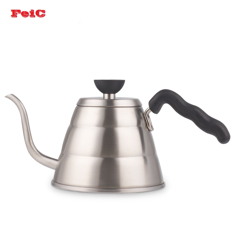 FeiC 1pc 1.0L Hario Style V60 Tea and Coffee Drip Kettle pot stainless steel gooseneck spout Kettle hot water for Barista kettle