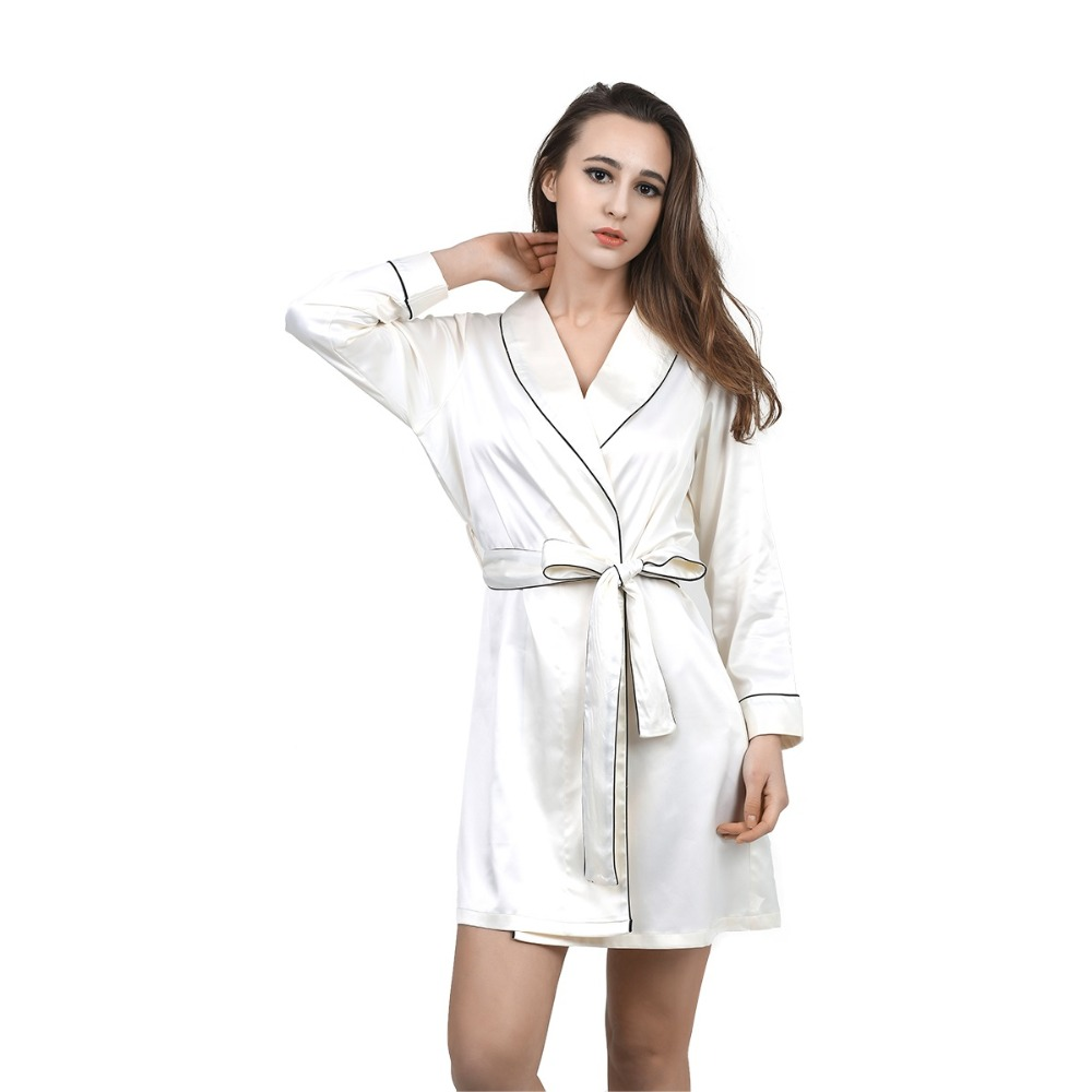 High Grade Satin Chiffon Robe Solid Spring Summer Sexy ...