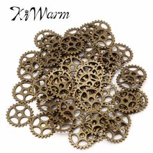 KiWarm Metal Crafts 50pcs Bronze Alloy Charms Wheel Gears Antique Vintage Craft Watch Clock Parts for Home Cloth Decor Pendant(China)