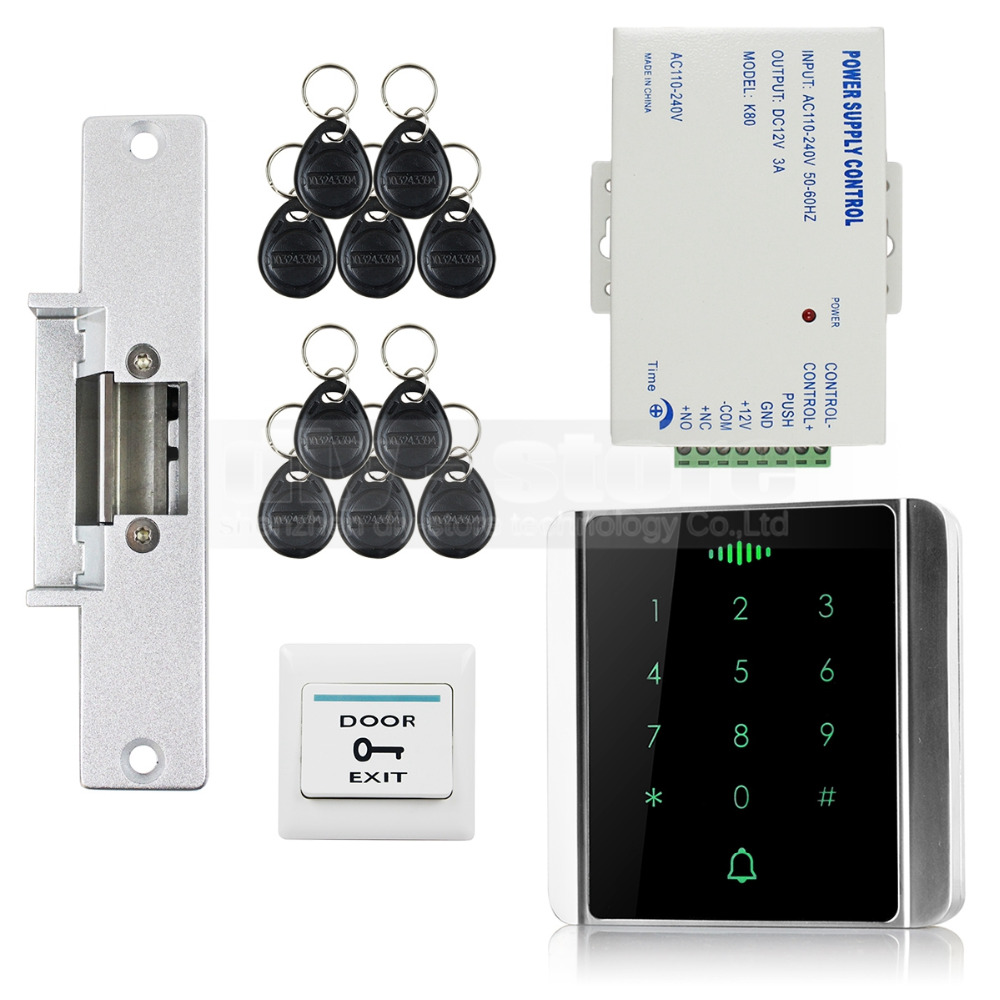 DIYSECUR 125KHz RFID Reader Password Keypad + Electric Strike Lock Access Control System Security Kit