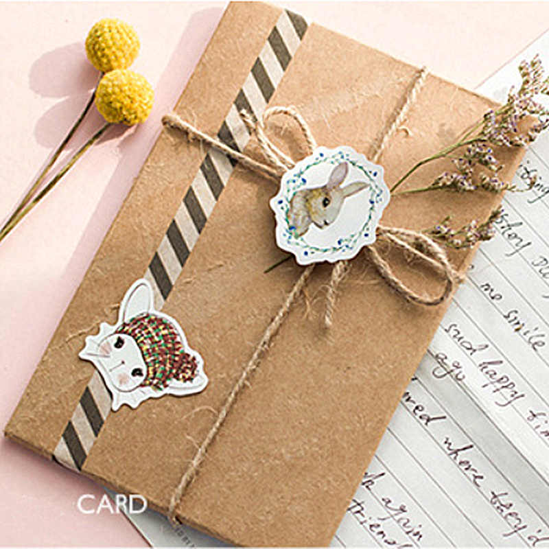 46Pcs/pack Kawaii Rabbit Paper Envelope European Style Message Card Letter Stationary Storage Paper Sticker Gift