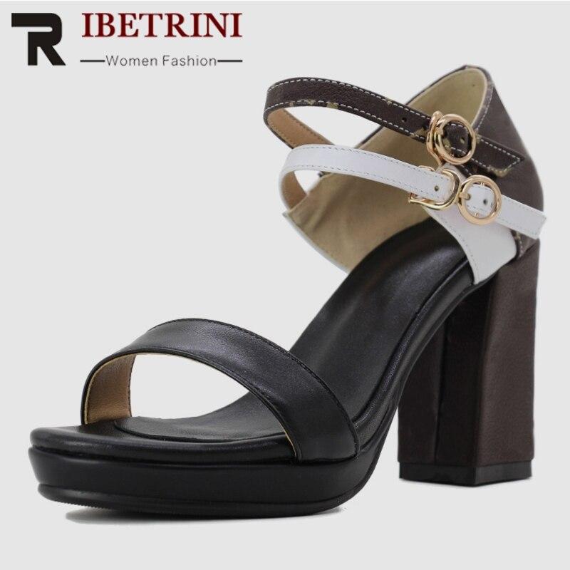 Ritrahini INS nouvelle marque de luxe plate-forme sandales femmes en cuir véritable 2019 été grande taille 34-43 femmes talons hauts chaussures femme