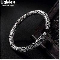 Uglyless Настоящее S 999 серебро ювелирные украшения унисекс Прохладный драконы браслеты для мужчин Винтаж гравировкой ручной работы