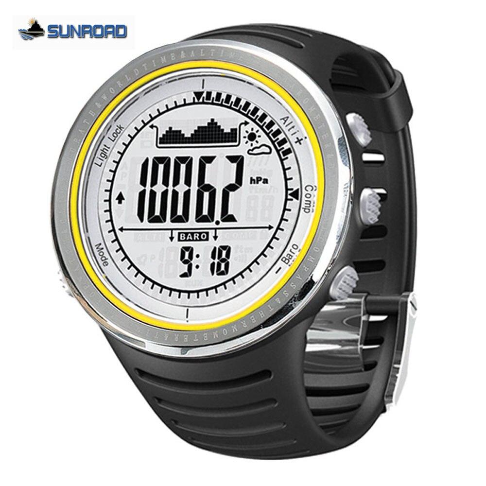 Sunroad Открытый спортивные часы Для мужчин 5ATM Водонепроницаемый альтиметр компас секундомер Рыбалка часы барометр шагомер часы погружения Д...