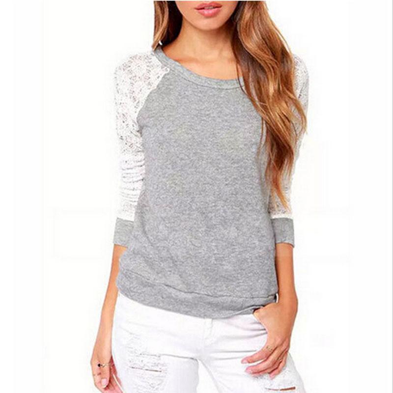 2017 Long Sleeve Sweatshirts Tops Ladies Autumn Backless Embroidery Lace Casual Hoodies Tops Ladies Pullover Crop Sweatshirt