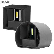 12 Вт Современный короткий круглый куб Регулируемый поверхностный монтаж открытый светодиодный настенный светильник водонепроницаемый настенный светильник Бра Лампа для коридора крыльца