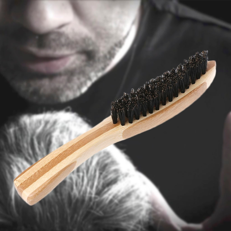 Beard Brush Boar Bristle For Men's  Mustache Shaving Comb Face Massage Facial Hair Cleaning Brush Beech Long Handle