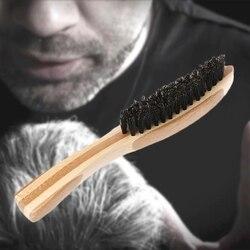 Cepillo de barba cerdas de jabalí para el bigote de los hombres peine de afeitado masaje Facial cepillo de limpieza de pelo de haya mango largo