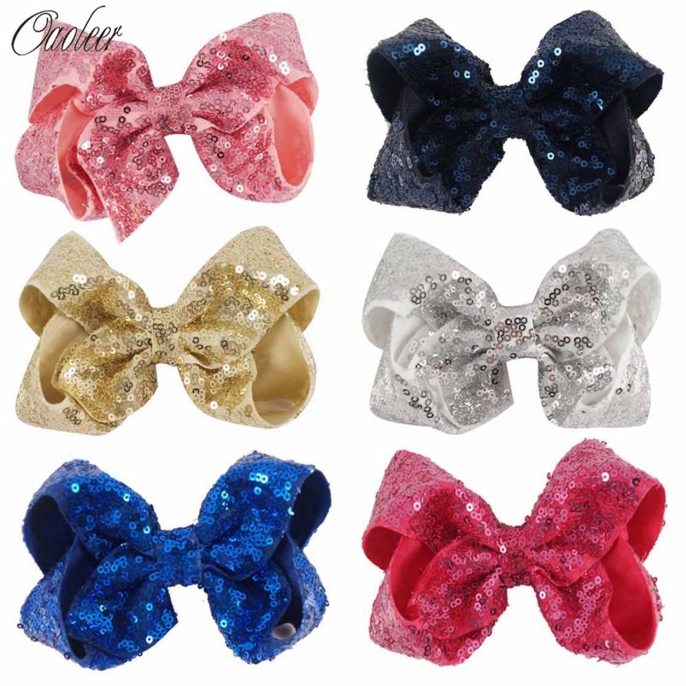 6 Pieces/lot 5 Sequin Hair Bow Handmade Solid Bling Bling Hair Clip Girls Headwear Hair Accessories 5 pieces lot ixfk150n30p3