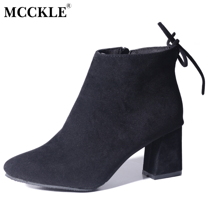 MCCKLE Women Boots Thick High Heels Autumn Ankle Boots For Woman 2017 Ladies Black Flock Suede Leather Fashion Zip Female Shoes серверная платформа intel r2208wt2ysr 943827