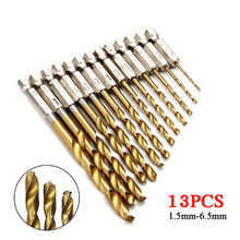 цена на 13Pcs/lot High Speed Steel Drill Bit Set Titanium Coated HSS 1/4 Hex Shank 1.5-6.5mm Self Centering Hex Shank Twist Drill