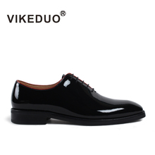 VIKEDUO Handmade Men Patent Shoes Black Formal Wedding Office Business Dress Shoe Fashion Male Footwear Plus Size Zapato Hombre