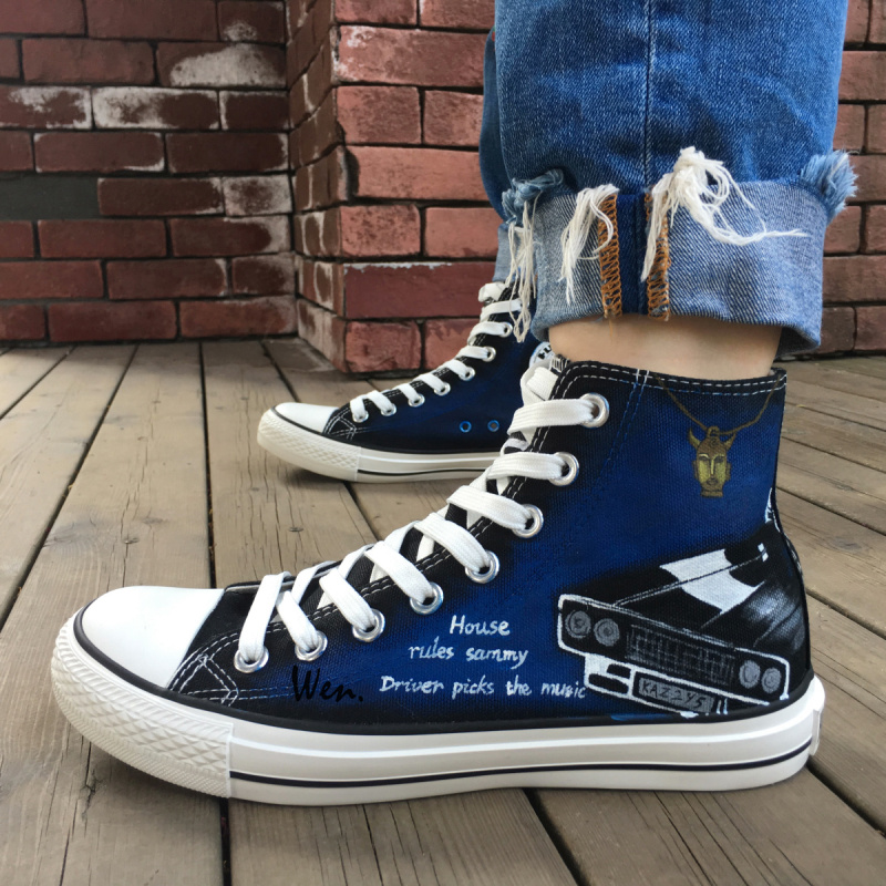 Wen Hand Painted Shoes Design Custom Supernatural Pentagram Man Woman s High  Top Canvas Sneakers for Birthday Gifts 618e14b5f098