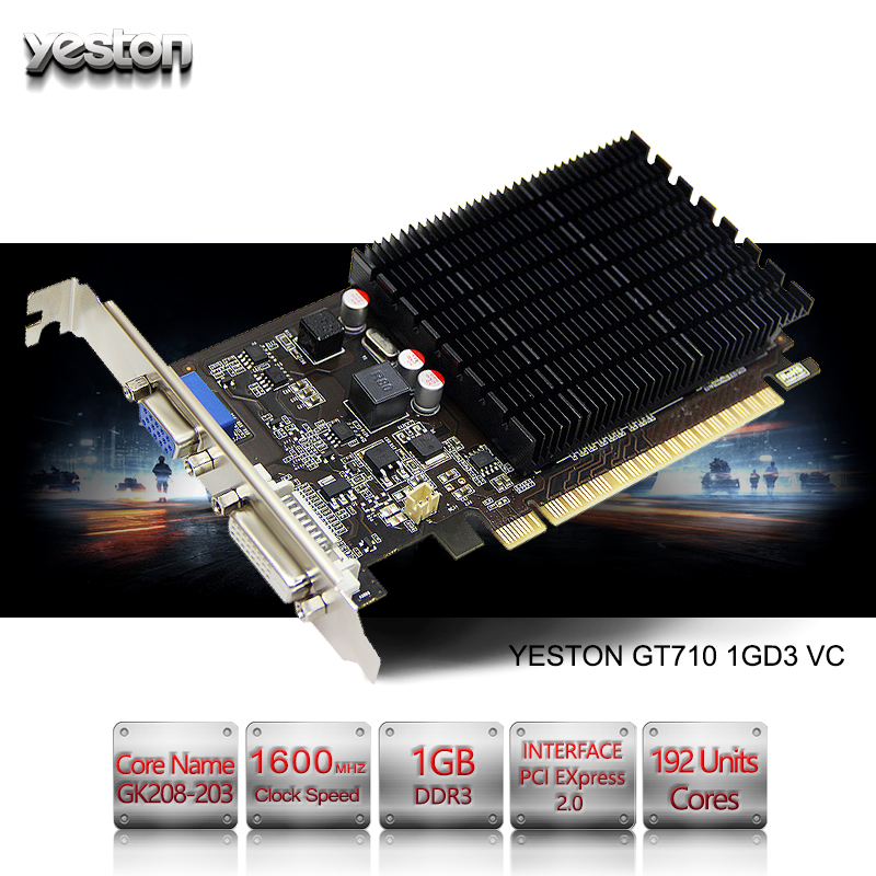 Yeston GeForce GT 710 GPU 1GB GDDR3 64 bit Gaming Desktop computer PC Video Graphics Cards support yeston nvidia geforce gt 730 gpu 2gb gddr5 64 bit gaming desktop computer pc video graphics cards support pci e x16 2 0