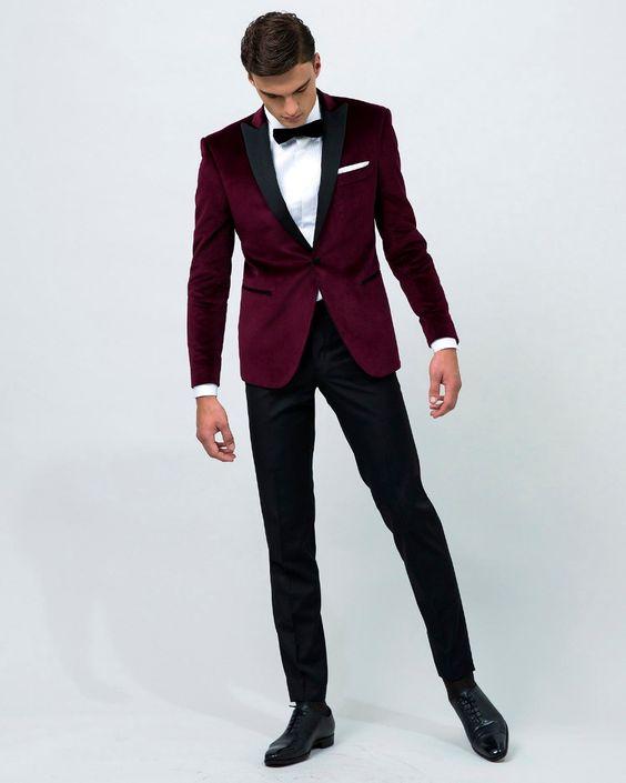 Latest Coat Pant Designs Burgundy Velvet Men Suit Formal