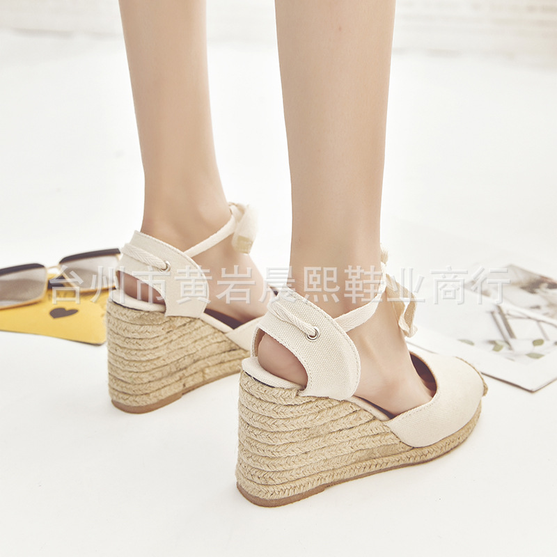 HTB1Ar 5NhjaK1RjSZFAq6zdLFXad Women's Espadrille Ankle Strap Sandals Comfortable Slippers Ladies Womens Casual Shoes Breathable Flax Hemp Canvas Pumps
