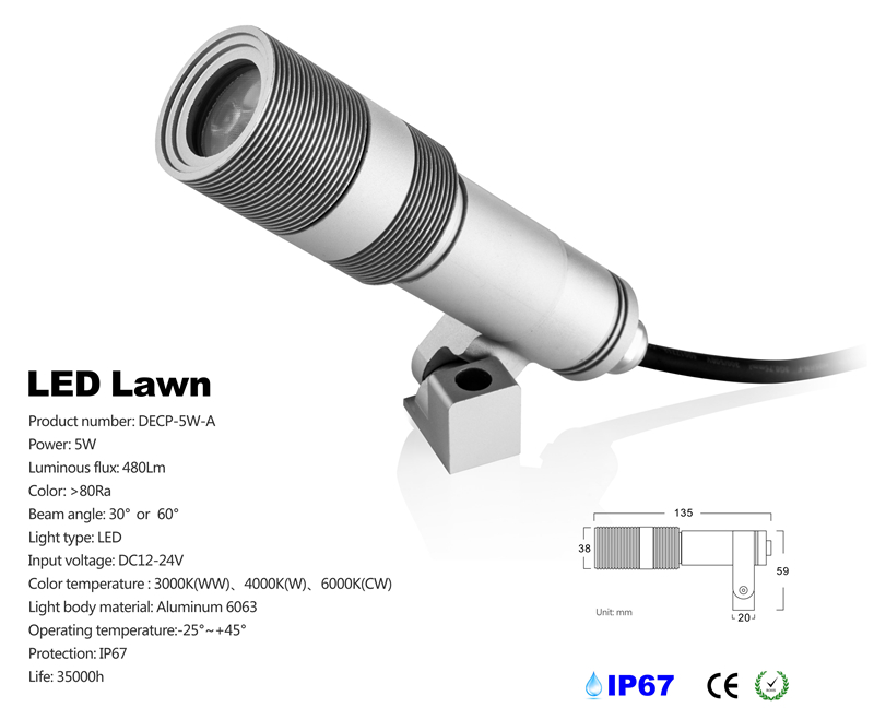 CREE 5W Spot Garden LED Outdoor IP67 Waterproof Inground LED Lawn light DC 12V 24V landscape lamp 2pcs/lot Freeshipping