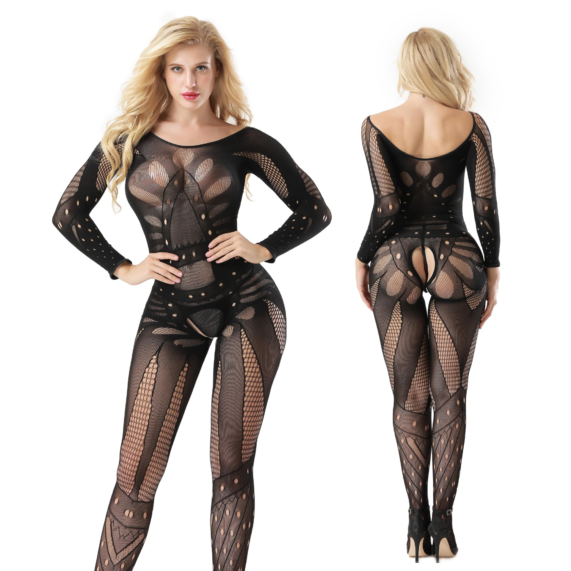 Long Sleeve Encryption Black Appeal Bodysuits Sexy Open Fork Stockings Cutout Hollow Fishnet Siamese Lingerie for Women(China)