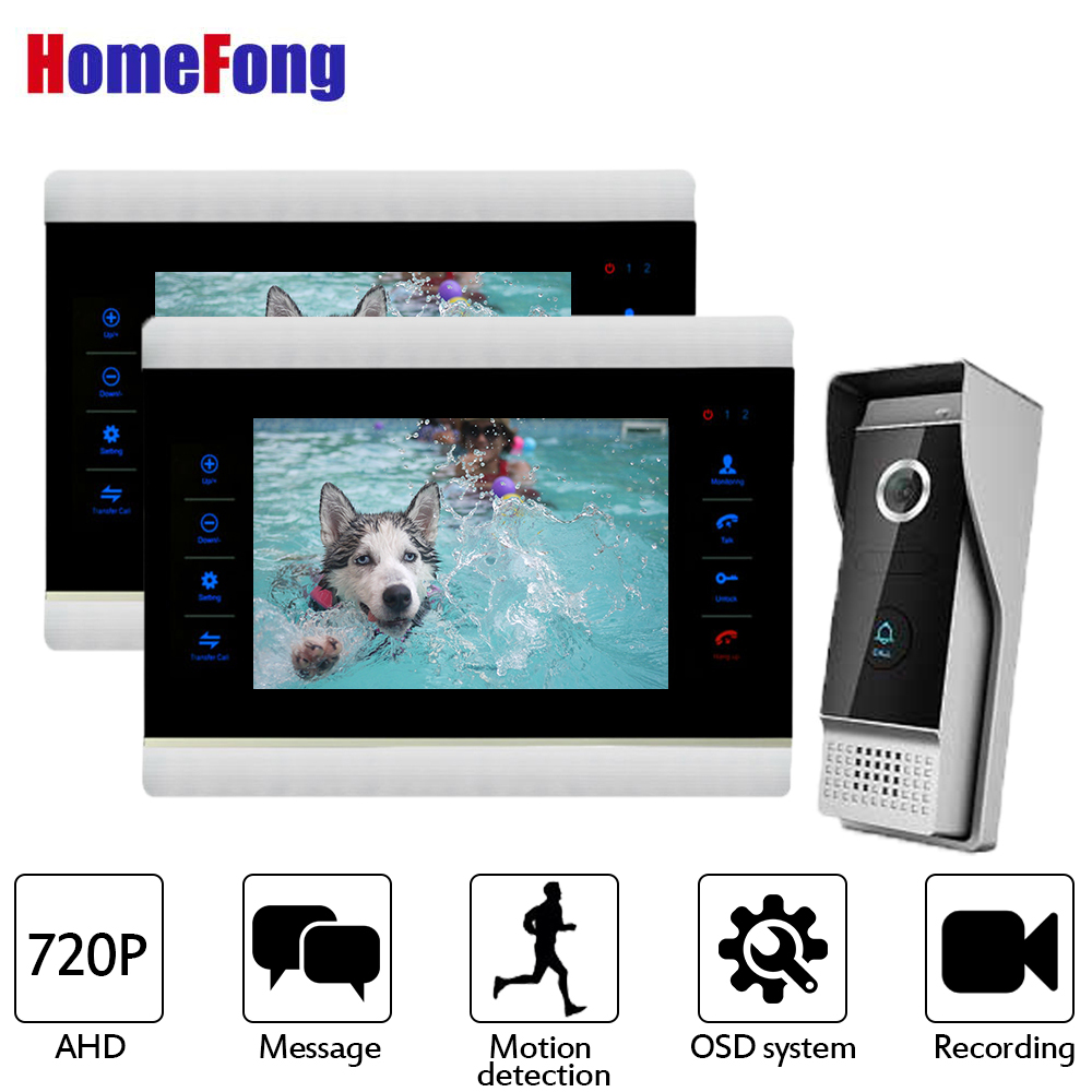 цена Homefong Video Door Phone 2 Monitors Wired Video Intercom Door Bell System AHD 720P HD Resolution Motion Detection Recording