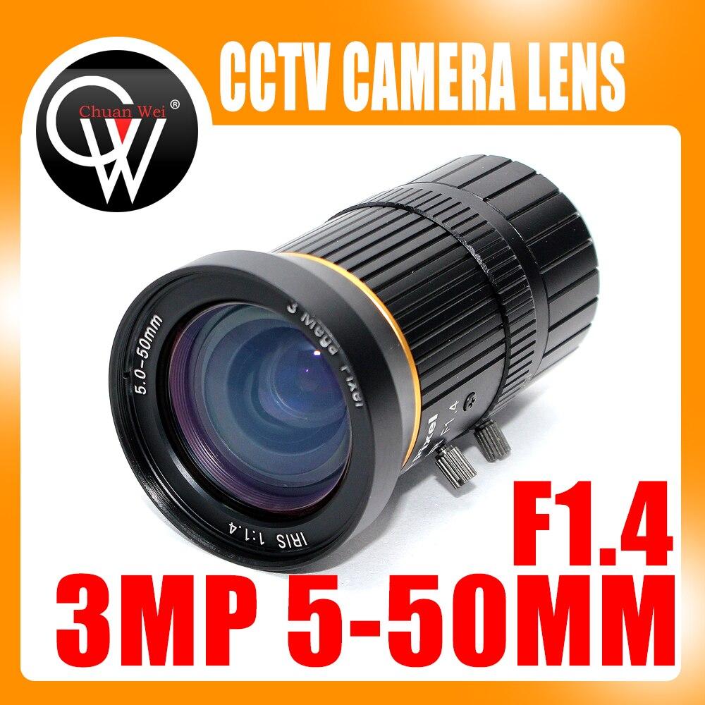 3.0 Mégapixels Varifocal HD Caméra DE VIDÉOSURVEILLANCE/SON Objectif 5-50mm Monture CS Avec iris Manuel F1.4 Pour l'industrie CCTV Caméra IP