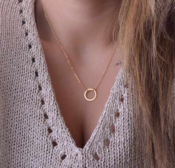 Women Unique Charming Gold Tone Circle Lariat Necklace collares 2014
