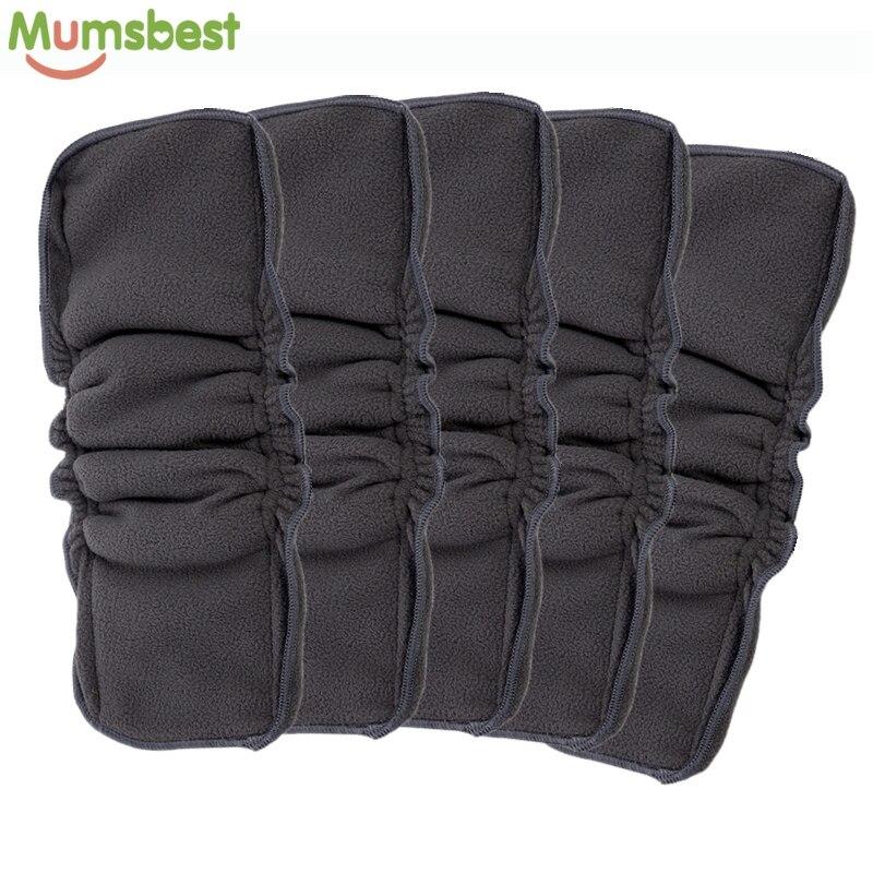 [Mumsbest] venta al por mayor 5 piezas reutilizables de carbón de bambú insertar doble refuerzos No fugas de bebé pañal de tela pañal camisas
