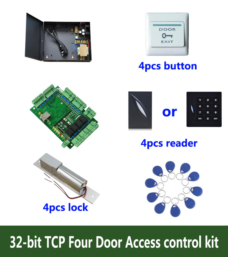 RFID 32-bit access control kit,TCP/ip four door access control+powercase+bolt lock +ID reader+exit button+10 ID tags,sn:kit-T402 biometric fingerprint access controller tcp ip fingerprint door access control reader