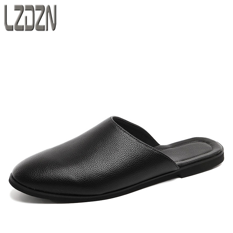 Summer new British reto slippers men casual men's shoes leather sandals all-match Leisure Half the slippers Flats Fashion male new arrival summer men sandals leisure solid waterproof male outdoors slippers pu leather fashion slip on sandals w1 35