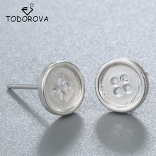 Todorova Simple 925 Sterling Silver Earring Tiny Button Ear Studs Cute Small Errings Women Fashion Jewelry pendientes de plata