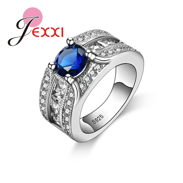 JEXXI Brand Design Engagement Party Ring 2018 New Fashion Royal Blue