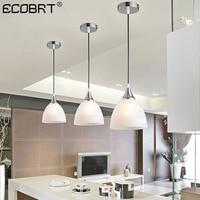 ECOBRT Modern LED Glass Pendant lighting Living Dining Room Kitchen Island Ceiling Handing Lamp Glass Shade E27