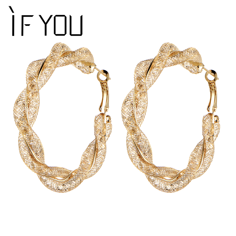 IF YOU 1pair Punk Gold Color Round Net Corrugated Stud Earrings For Women Men Trendy Alloy Earring Brinco Jewelry