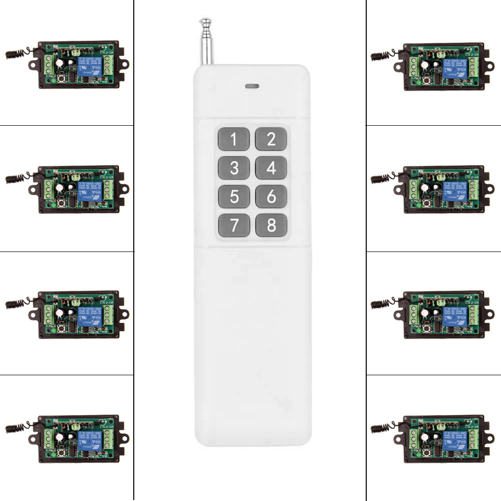 3000m DC 9V 12V 24V 1 CH 1CH RF Wireless Remote Control Switch System,315/433 MHZ 8CH Transmitter + 8 X Receiver,Momentary 12v 8 ch channel rf wireless remote control switch