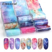 Elessical 10pcs 4* 20cm Nail foil Adhesive Transfer Sticker Set Nail Art Slider Design Decal  wraps Nail Decoration manicure 3d цена