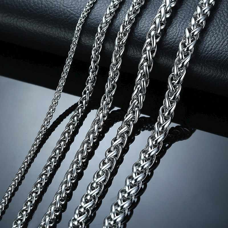 3-7.4MM srebrny Tone łańcuchy pszenicy ze stali nierdzewnej mężczyzn naszyjnik z 24 cali