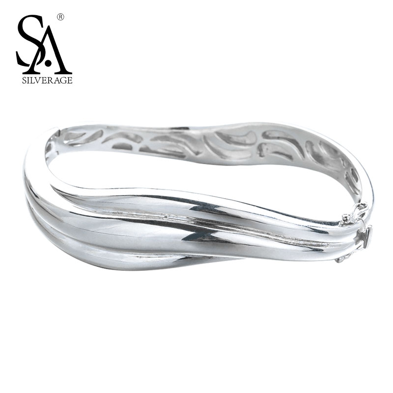 SA SILVERAGE 925 Sterling Silver Bangles Women Wave Shape Bangle&Bracelet Femme Pure Silver Jewelry 2018 Women Best Girl Gift sa silverage 925 sterling silver anklets for women sexy anklets jewelry luxury pure silver 925 jewelry accessory girl gift