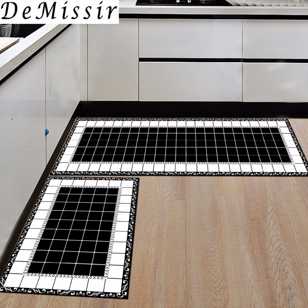 Us 8 83 25 Off Demissir Modern Kitchen Rug White Black Gemetric Rectangle Carpet Non Slip Absorbent Door Foot Mat For Living Room Alfombra In Carpet