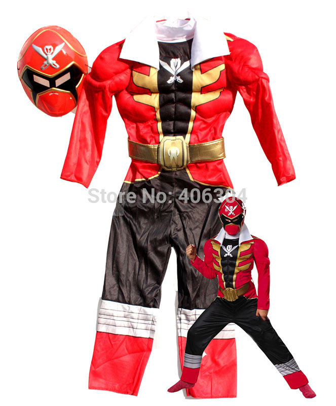 Free Shipping High Quality Children Red Musle Power Rangers Costume
