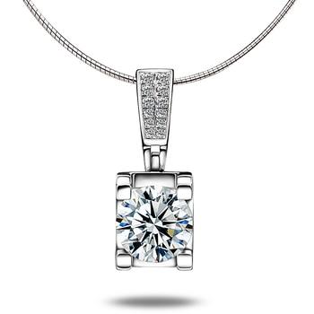 Fashion Slide Wedding Pendant 18K White Gold 1 Carat Round Shape Moissanite Diamond Necklace Gifts for Women 1