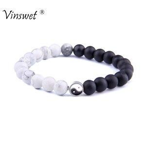 Yin yang pulseiras para homens casais de sorte pulseira feminina natural howlite pulseira jóias preto onyx pedra contas pulsera