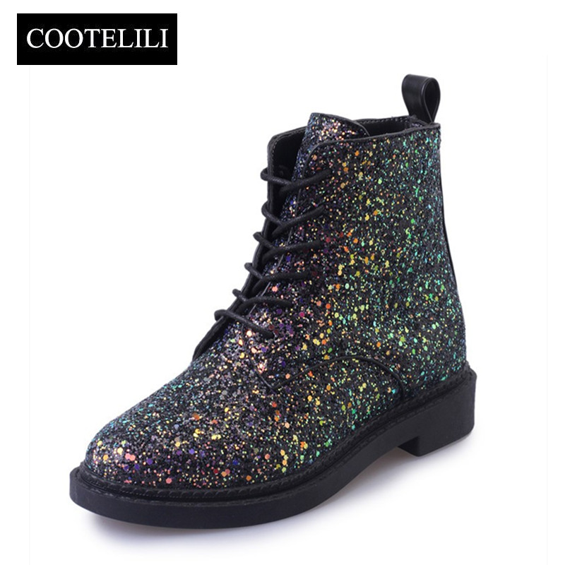 COOTELILI Designers Brand Women Ankle Boots Heels Female <font><b>Shoes</b></font> Woman Autumn Glitter Lace up Boots Casual Bling Pink Black White