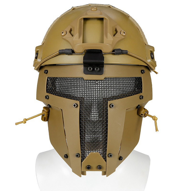 New Outdoor Brown Airsoft Helmet Mesh Airsoftsports Motorbike Helmet Helmet Full Face Mask Army Fan(China)