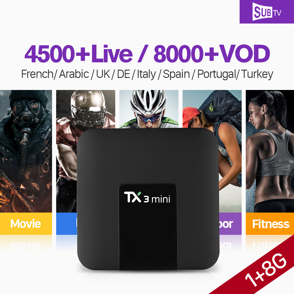 IPTV France Arabic Box IPTV Subscription TX3 mini Android Tv Box S905W Quad Core Full HD Live IPTV Portugal Turkey SUBTV Code мультимедиа плеер iconbit movie iptv quad