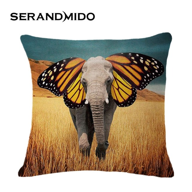 colorful butterfly elephant outdoor pillows cotton pretty 45 45cm